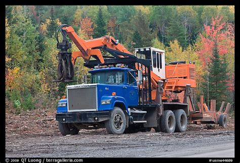 picturephoto forestry truck  logging site maine usa