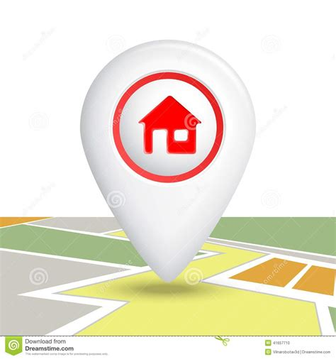 home icon pin stock vector image of white building