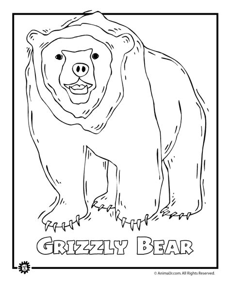 coloring pages of dangerous animals endangered grizzly bear animal jr