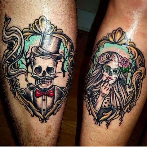 pair tattoo designs couples skeleton skull tattoos his and hers ink