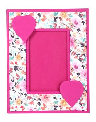 Handmade Paper Photo Frames - buy pink handmade paper floral screen printed photo frame