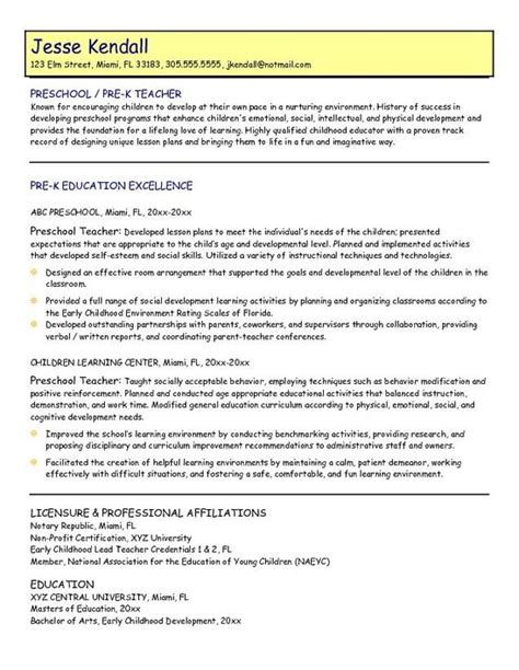 Resume Templates For Daycare Teachers Sles Preschool Resume Preschool