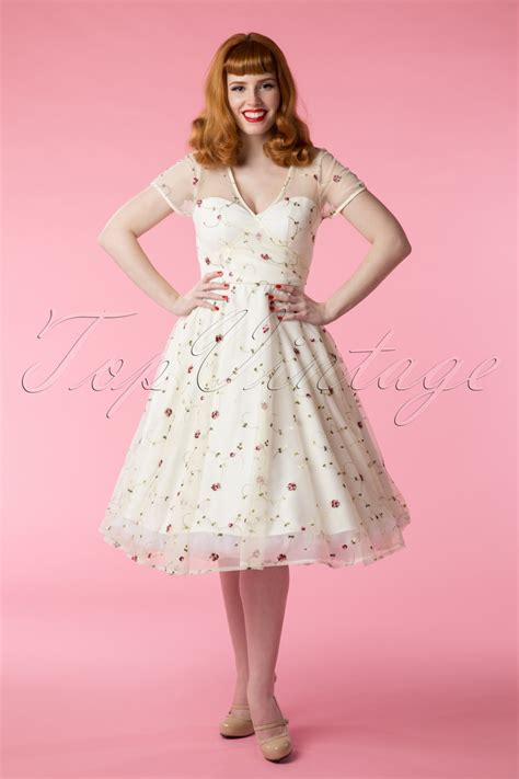 hochzeitskleid swing 50s floral swing dress in ivory