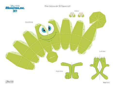 Papercraft Monsters - papercraft mike wazowski monstres et cie paper toys