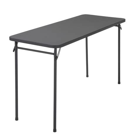 office resin folding table cosco home and office products 20 quot x 48 quot black resin top