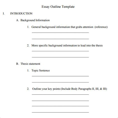 essay outline template outline template 11 free documents in pdf