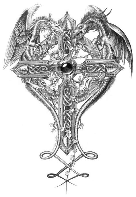 black and grey dragon tattoo designs 55 dragon cross tattoos designs and pictures