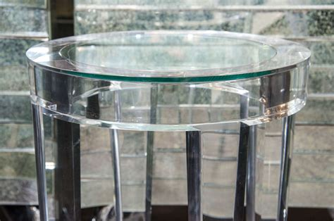 acrylic side table acrylic side table with inset glass at 1stdibs