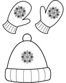 Winter Hat And Mittens  Coloring Page sketch template