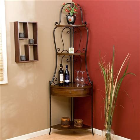 Bakers Rack Corner Unit by Space Saving Corner Bakers Rack With Wrought Iron Frame