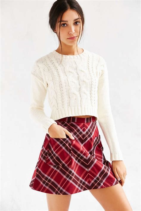 A Line Plaid Skirt a line plaid skirt