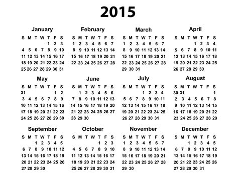 printable calendar horizontal 2015 free printable 2015 calendar year download 2015 pdf