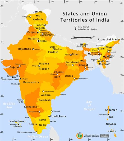 indian states state and union territories india map maps of india