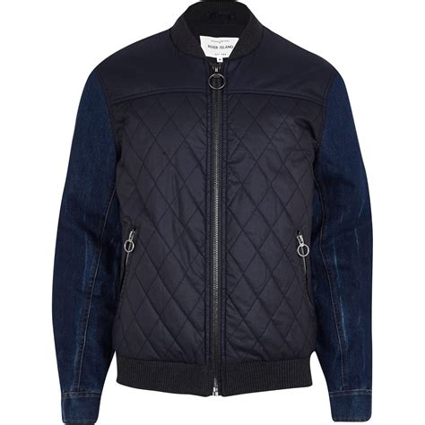 Mens Quilted Jacket River Island by River Island Navy Denim Sleeve Quilted Bomber Jacket In