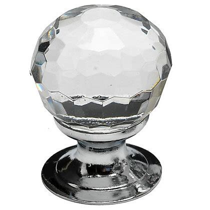 faceted glass door knob chrome plated 30mm