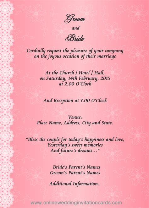 marriage wedding invitation cards matter in invitation cards sles for weddings with marriage