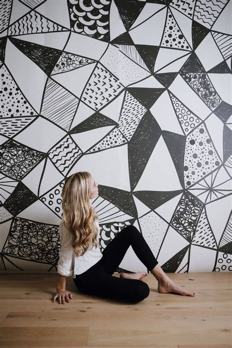 black and white mural wallpaper give a new contemporary looks to walls with geometric wall