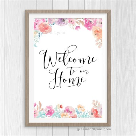 green printable wall art welcome to our home printable wall art green and lyme