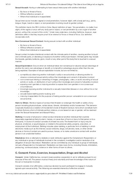 Occidental College Letters Of Recommendation 2013 2014 occidental college sexual assault policy