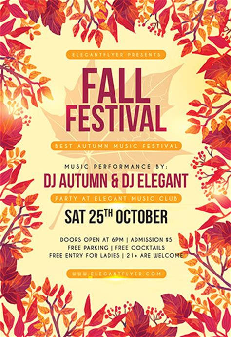 Free Psd Flyer Templates For Photoshop By Elegantflyer Fall Festival Flyer Template