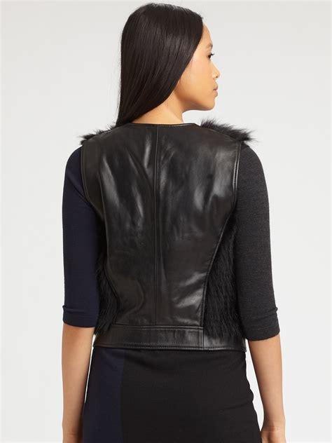 Zaskia Zipper Blazer theory raccoon fur and leather vest in black lyst