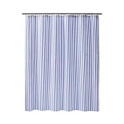 seersucker curtains new target home blue white seersucker stripe shower curtain