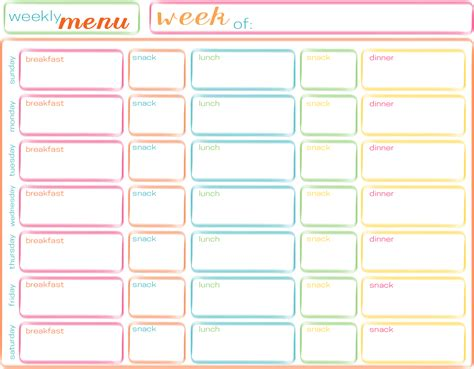 search results for free printable weekly menu planner
