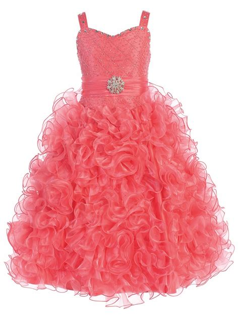 Princess Pink Dress Ios gwen and zoe coral beaded sweetheart bodice w ruffled organza dress