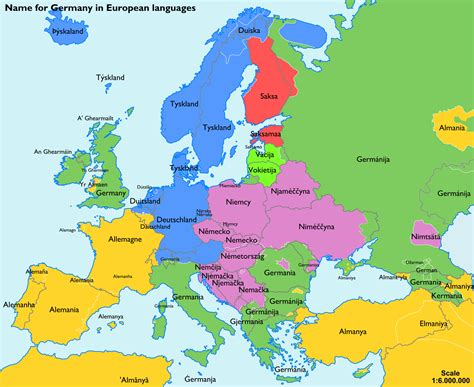 map of europe in german language the name for quot germany quot in various european languages