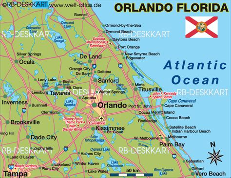 orlando florida map map of orlando region united states of america usa florida map in the atlas of the world