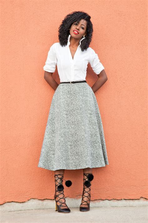 the caribs fitted white shirt swing midi skirt