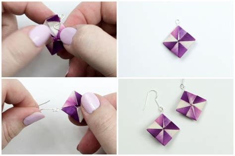 How To Make Paper Stud Earrings - how to make origami earrings
