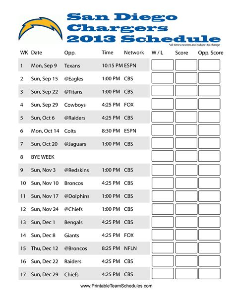 2013 san diego chargers schedule san diego chargers schedule 2013 nfl 2013 team schedules