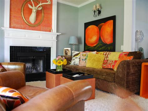 orange and brown living room decorating with warm rich colors color palette and