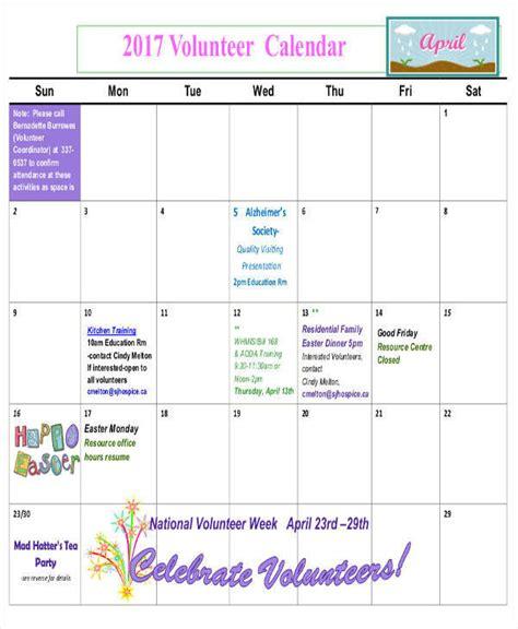 volunteer calendar template enom warb co