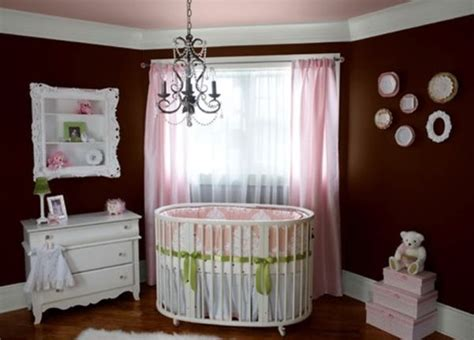 pink and brown baby room dark brown walls clubbed with pink accents for a baby girl