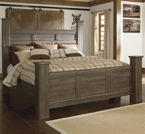 ledelle california king poster bed with tall headboard signature design by ashley juararo transitional king