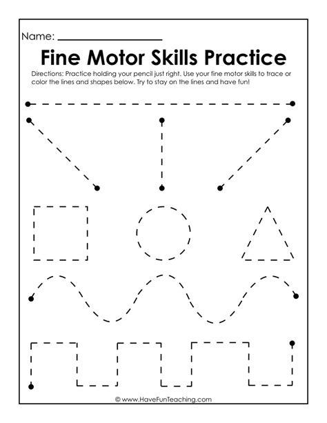 fine motor skills practice worksheet  fun teaching