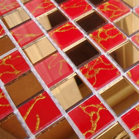 Crystal Glass Tile Mosaic Glass Mirror Tiles red Mirrored
