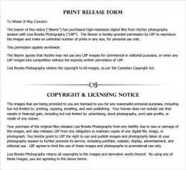 print release form template template design