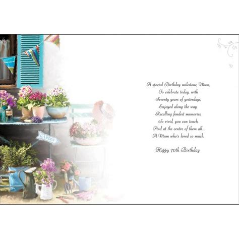 Verse For 70th Birthday Card Mum 70th Birthday Card Karenza Paperie