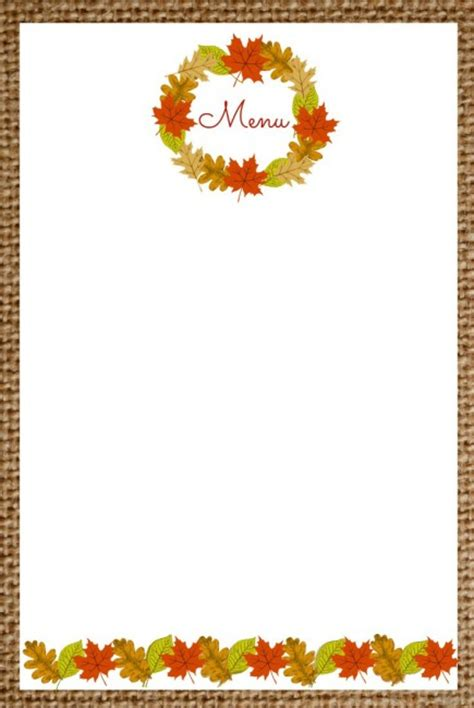free printable blank menu templates