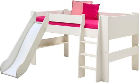 bed slide steens for midsleeper bed with slide in solid plain white
