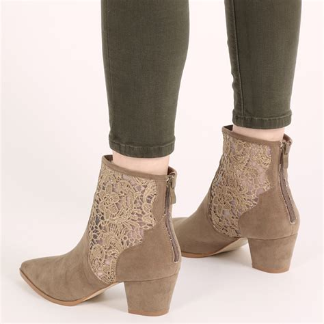 womens zip up lace cowboy boots western ankle boots in