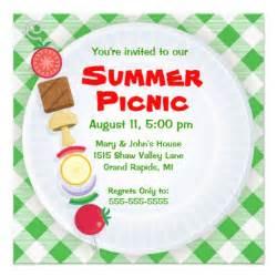 summer picnic invitation 5 25 quot square invitation card zazzle