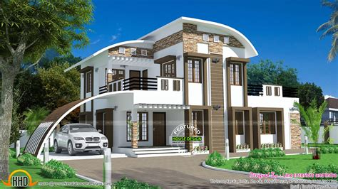 House Curved Roof Style Kerala Home Design And Floor Plans