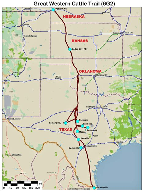 texas cattle trails map great western cattle trail map changes on the plains unit history and american