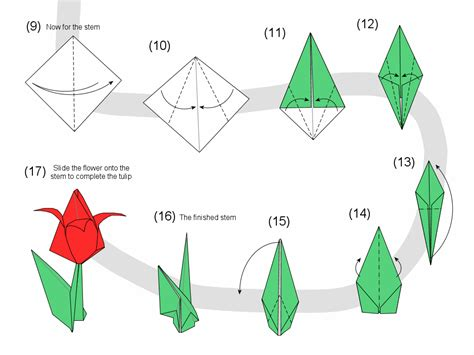Origami Tulip Easy - tulip diagram page 2 pictures