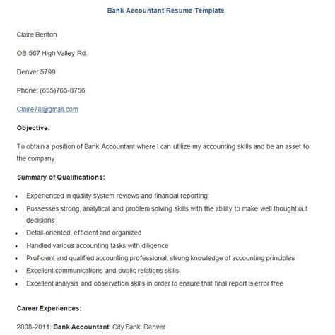 bank accountant resume sle