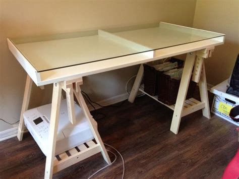 used glass top ikea trestle desk saanich